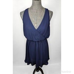 Lush Blue Chiffon Mini Dress